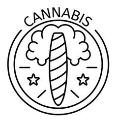 cannabis cigar logo outline style vector image
