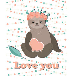 card with cute girl sloth in floral wreath vector image