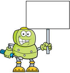 Cartoon robot holding a wrench and a sign vector