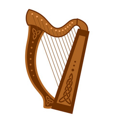 celtic triangular harp folk musical instrument vector image