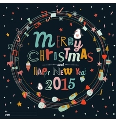 Christmas and New Year greeting wreaths vector