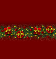 christmas and new year seamless border fir tree vector image