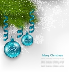 Christmas Background with Hanging Glass Balls vector image