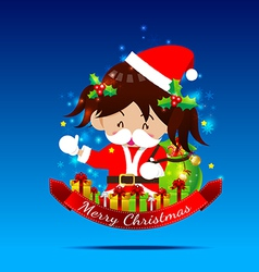 Christmas cartoon Little Girl with Santa Suit 002 vector image