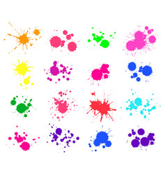 Color paint splatter bright ink stains and spray vector