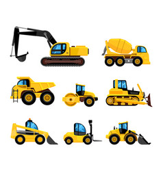 construct machines heavy machinery vehicles large vector image