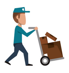 Courier pushing handtruck with boxes vector