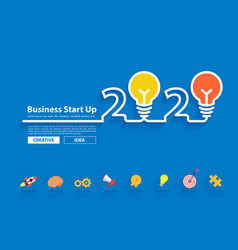 creative light bulb idea with 2020 new year vector image