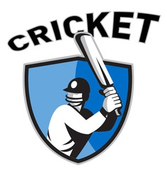 cricket sports shield vector image