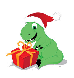 cute and happy baby dinosaur sitting with a gift vector image