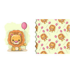 cute cartoon lion on a white background vector image