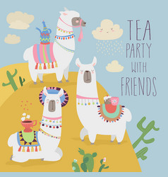 cute friends mexican white alpaca llamas drinking vector image