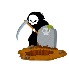 Death in cemetery scary character with scythe vector