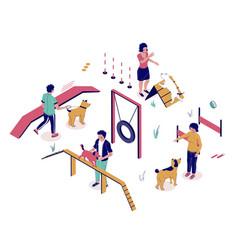 Dog playground isometric flat style design vector