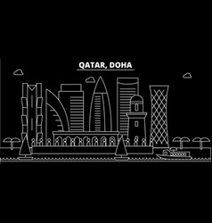 doha silhouette skyline qatar - doha city vector image