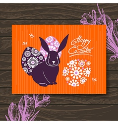 Easter card Easter rabbit and eggs vector image