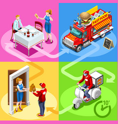 Fast food truck hamburger home delivery isometric vector