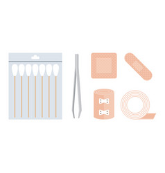 first aid kit cotton swabs vector image