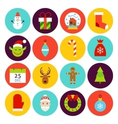 Flat Happy New Year Icons vector