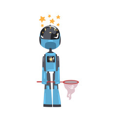 friendly robot with net and stars over its head vector image