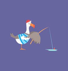 funny seagull fishing cute comic bird character vector image