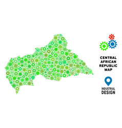 Gears central african republic map collage vector