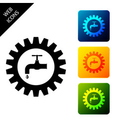 Gearwheel with tap icon isolated on white vector
