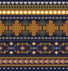 Geometric ornament for weaving knitting vector