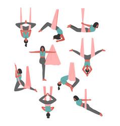 Girl doing air yoga set slim young woman vector