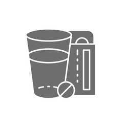 glass of water and pills medicine grey icon vector image