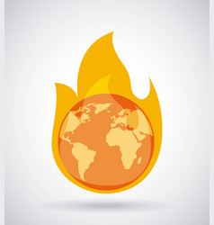 Global earth burning fire climate change concept vector