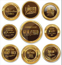 gold and brown badges collection vector image