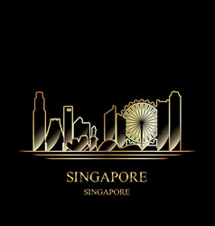 gold silhouette of singapore on black background vector image