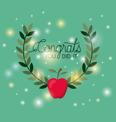 graduation card with apple vector image