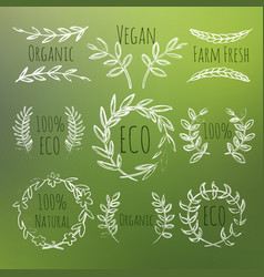 green labels set vector image
