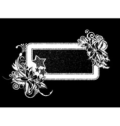 Grunge floral frame with stars vector