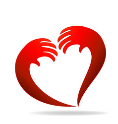 hands representing a heart valentines icon logo vector image