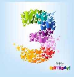 happy birthday postcard three years vector image