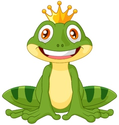 Happy cartoon king frog vector