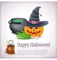 Happy Halloween card with pumpkin hat and cauldron vector