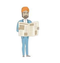 Hindu businessman reading newspaper vector