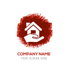 Home insurance icon - red watercolor circle splash vector