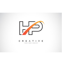 hp h p swoosh letter logo design with modern vector image