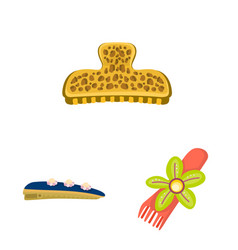 Isolated object barrette and hair icon set of vector