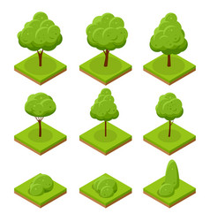 isometric trees and bushes collection trees vector image