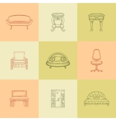 It is a nine of home furniture vector