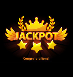 jackpot gold casino lotto label with shooting vector image