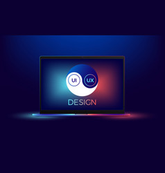 Laptop with ui and ux yin yang vector