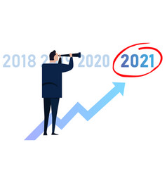 leader businessman vision target looking chart up vector image