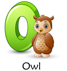Letter o is for owl cartoon alphabet vector